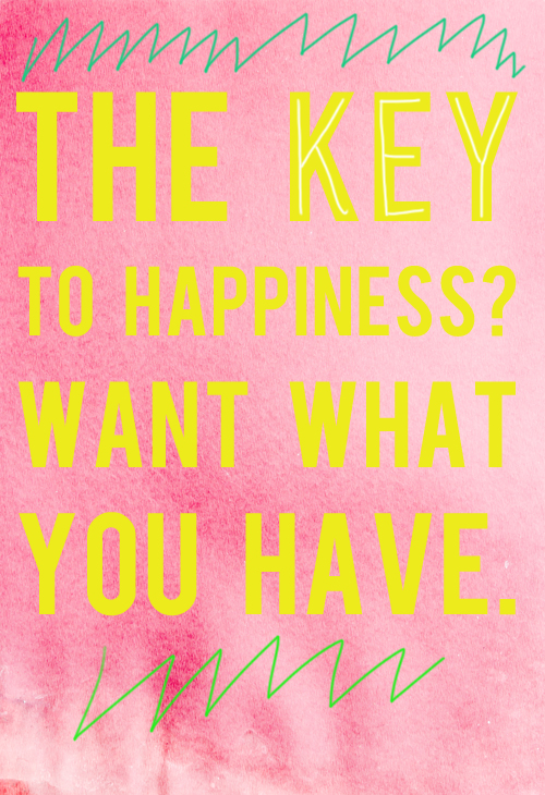 the key to happiness is wanting what you have