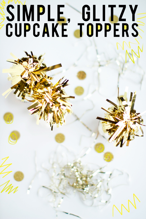 simple glitzy cupcake toppers