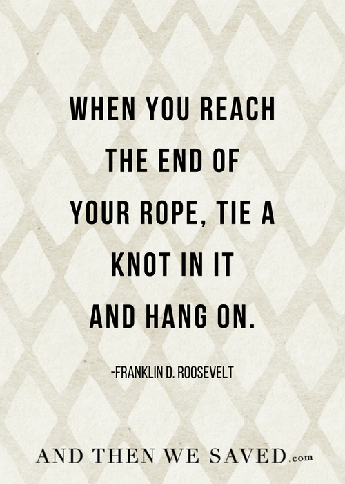 Tie a knot and hang on | And Then We Saved.com