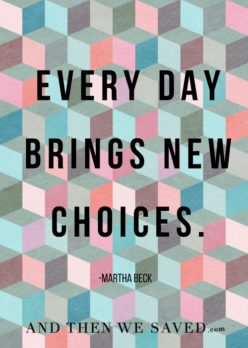 Every Day Brings New Choices | And Then We Saved