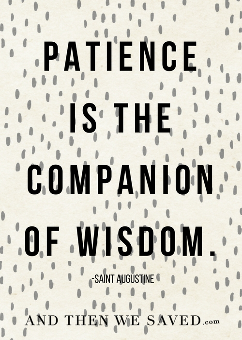Patience is the companion of wisdom | Andthenwesaved.com