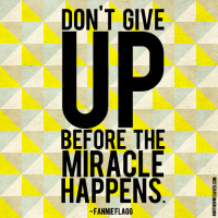 don't give up before the miracle happens