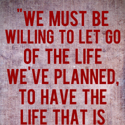 let go of the life you planned to have the life waiting for you