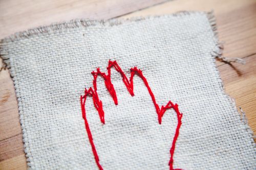 easy embroidered hand DIY for mother's or father's day andthenwesaved.com