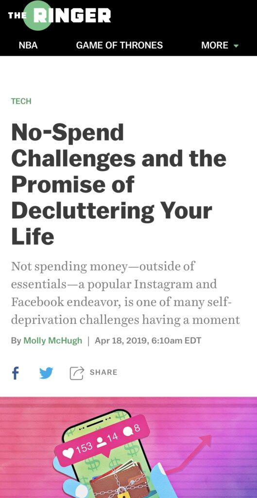 The Ringer, No-Spend Challenges and the Promise of Decluttering Your Life