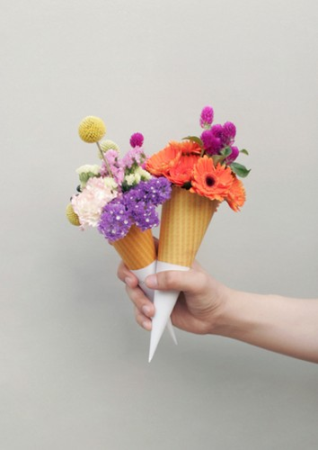 flowers in sugar cones