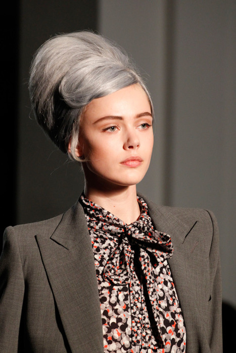 model with grey updo