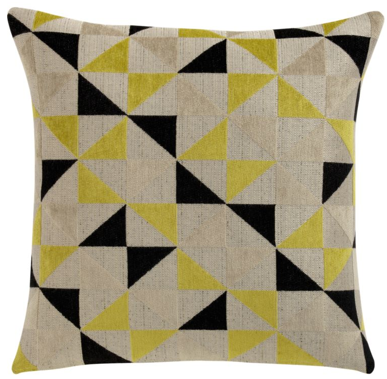 yellow black triangle pattern linen pillow